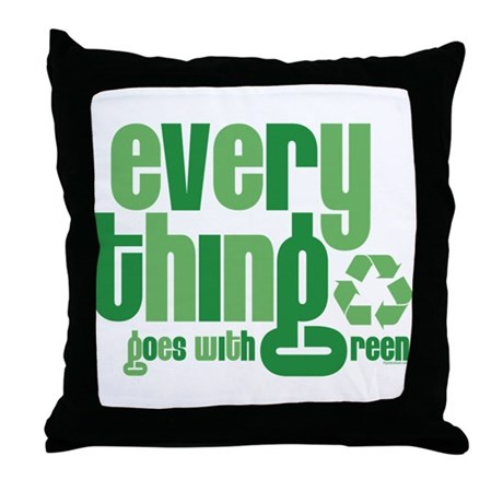 Everything Green Throw Pillow