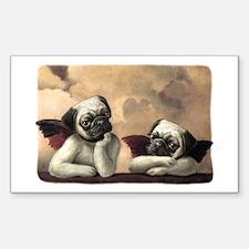 Pug Angels No Slogan Rectangle Decal