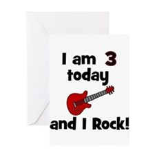 I am 3 today and I Rock! Gui Greeting Card