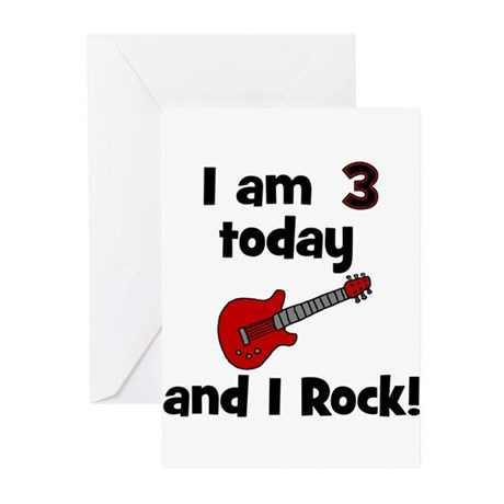 I am 3 today and I Rock! Gui Greeting Cards (Pk of