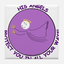 Angels Protection Purple Tile Coaster