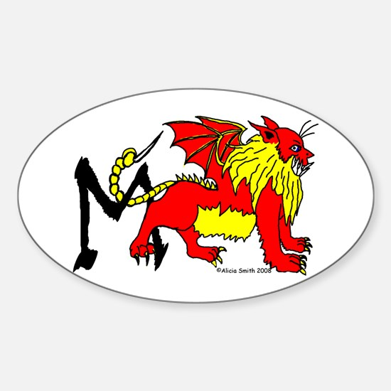 M is for Manticore Oval Decal