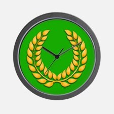 Green with Gold Laurel Wall Clock