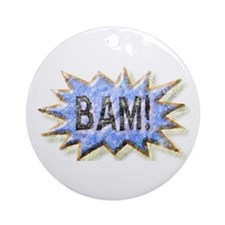 BAM! Distressed look Emeril Ornament (Round)