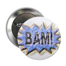 """BAM! Distressed look Emeril 2.25"""" Button"""