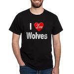 I Love Wolves (Front) Black T-Shirt