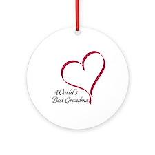 World's Best Grandma Heart Ornament (Round)