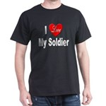 I Love My Soldier (Front) Black T-Shirt