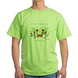 Gardening with corgi Green T-Shirt