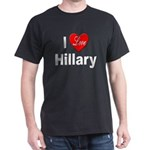 I Love Hillary (Front) Black T-Shirt