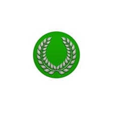 Green with Silver Laurel Mini Button (100 pack)