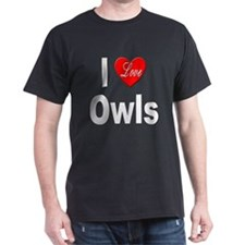I Love Owls (Front) Black T-Shirt