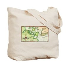 Map of Portsmouth & Isle of Shoals Tote Bag