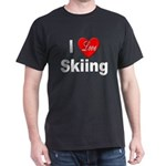 I Love Skiing (Front) Black T-Shirt