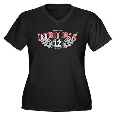 The Detroit Dozen Women's Plus Size V-Neck Dark T-