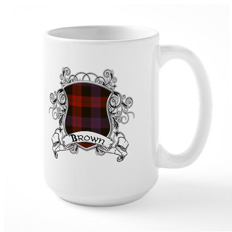 Brown Tartan Shield Large Mug