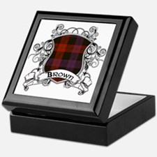 Brown Tartan Shield Keepsake Box