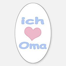 I Heart Grandma German Oval Decal