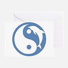 Blue Dolphin Yin Yang Greeting Card