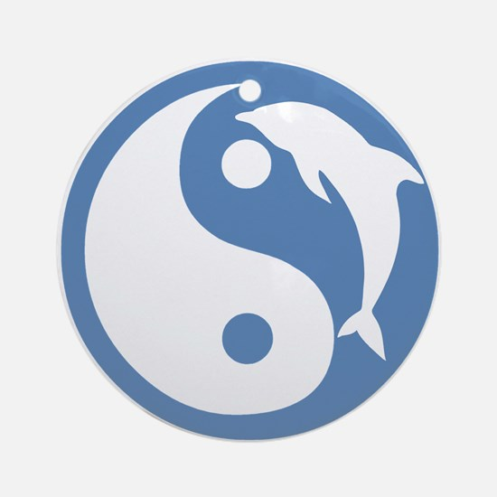 Blue Dolphin Yin Yang Ornament (Round)