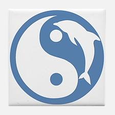 Blue Dolphin Yin Yang Tile Coaster
