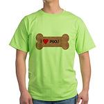 I LOVE PUGS  Green T-Shirt