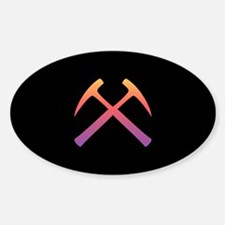 Sunset Crossed Rock Hammers Oval Decal