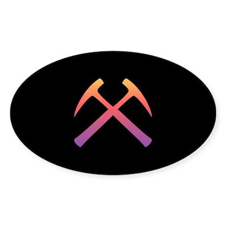Sunset Crossed Rock Hammers Oval Sticker (10 pk)