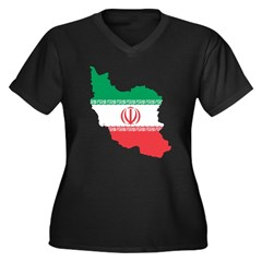 Map Of Iran Women's Plus Size V-Neck Dark T-Shirt