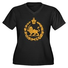 Persia Coat Of Arms Women's Plus Size V-Neck Dark