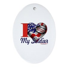 I love My Soldier Logo 1 Oval Ornament