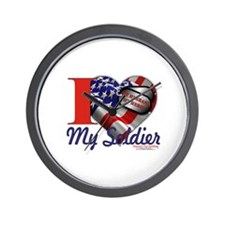 I love My Soldier Logo 1 Wall Clock