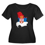 Map Of Serbia Women's Plus Size Scoop Neck Dark T-