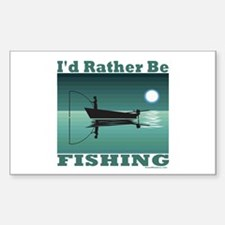 I'd Rather Be Fishing Rectangle Decal