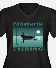 I'd Rather Be Fishing Women's Plus Size V-Neck Dar