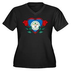 Heart Belize Women's Plus Size V-Neck Dark T-Shirt