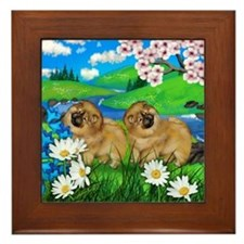 CHOW CHOW DOGS SPRING RIVER Framed Tile