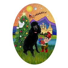 Black Standard Poodle Xmas Fantasy Oval Ornament