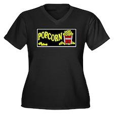Popcorn Women's Plus Size V-Neck Dark T-Shirt