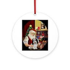 Santa's PBGV (#2) Ornament (Round)