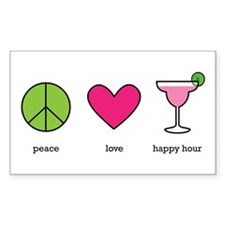 peace. love. happy hour Rectangle Sticker