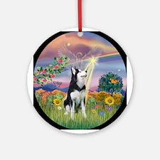 Cloud Angel Siberian Husky Ornament (Round)