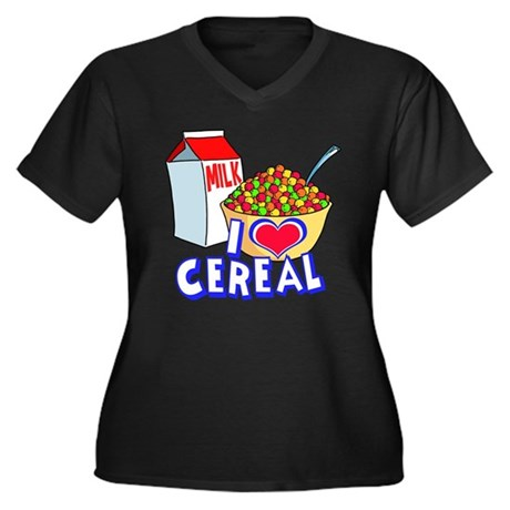 I LOVE CEREAL Women's Plus Size V-Neck Dark T-Shir