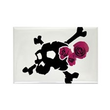 Skull with Roses Rectangle Magnet
