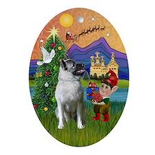 Norwegian Elkhound Xmas Fantasy Oval Ornament