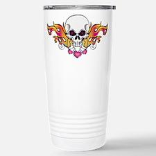 Flaming Skull and Hearts Travel Mug