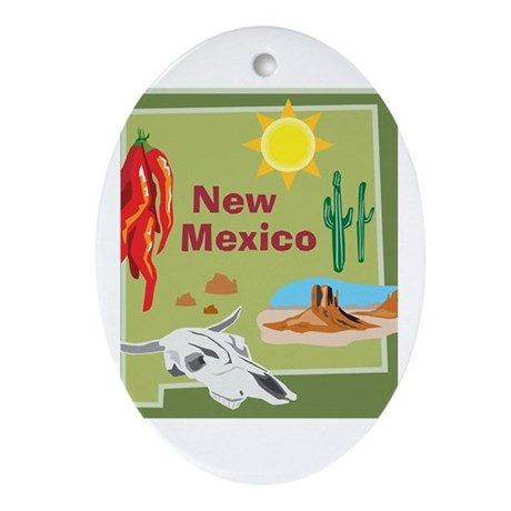 New Mexico Map Oval Ornament