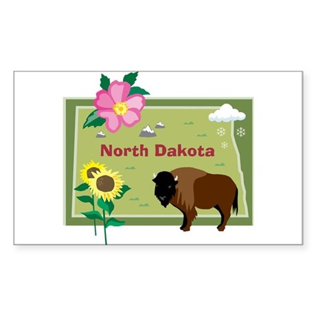 North Dakota Map Rectangle Sticker