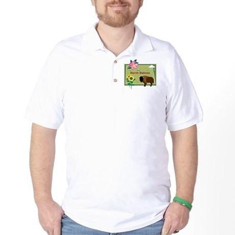 North Dakota Map Golf Shirt