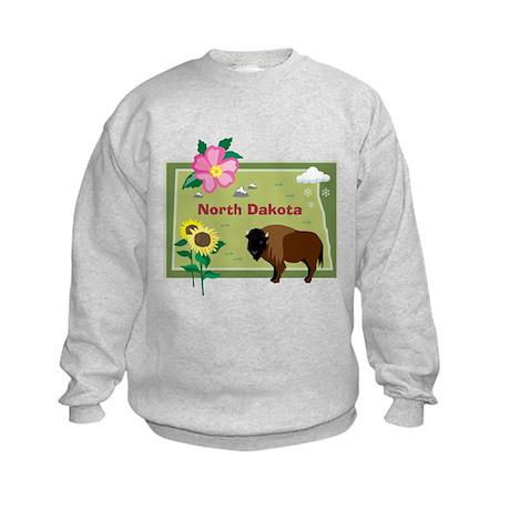 North Dakota Map Kids Sweatshirt